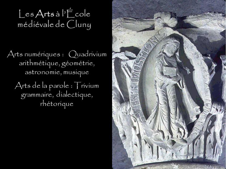 Arts numériques : Quadrivium arithmétique, géométrie, astronomie, musique Arts de la parole : Trivium grammaire, dialectique, rhétorique Les Arts à lÉ
