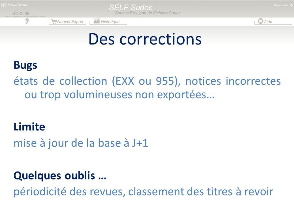 Bugs états de collection (EXX ou 955), notices incorrectes ou trop volumineuses non exportées… Limite mise à jour de la base à J+1 Quelques oublis … p