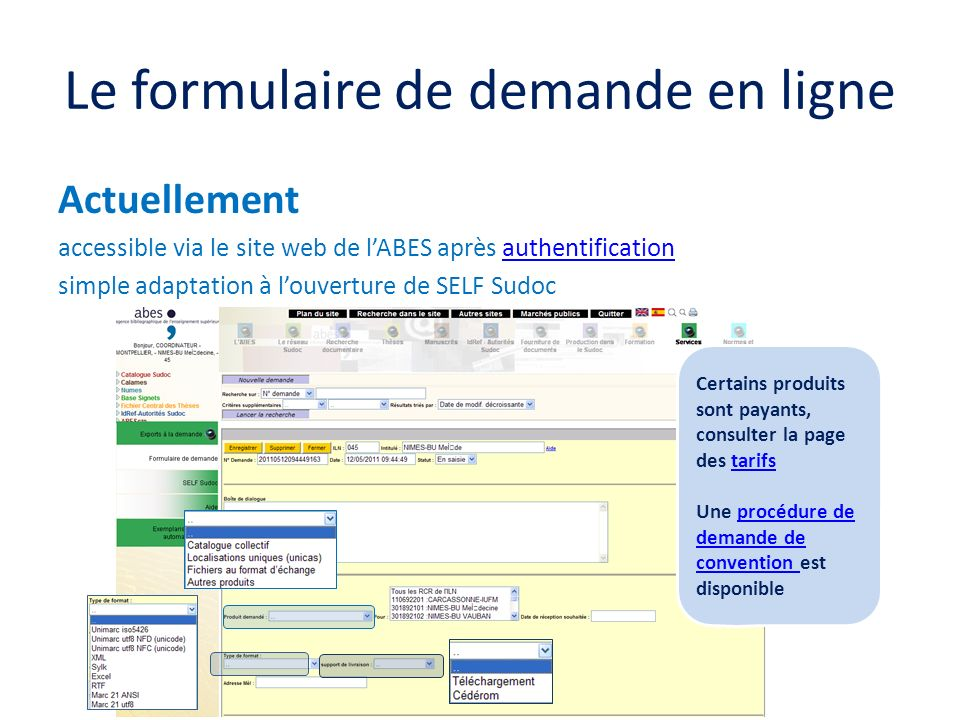 Le formulaire de demande en ligne Actuellement accessible via le site web de lABES après authentificationauthentification simple adaptation à louvertu