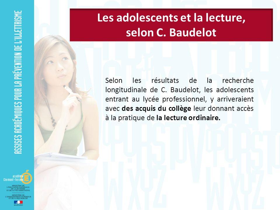 Selon les résultats de la recherche longitudinale de C. Baudelot, les adolescents entrant au lycée professionnel, y arriveraient avec des acquis du co