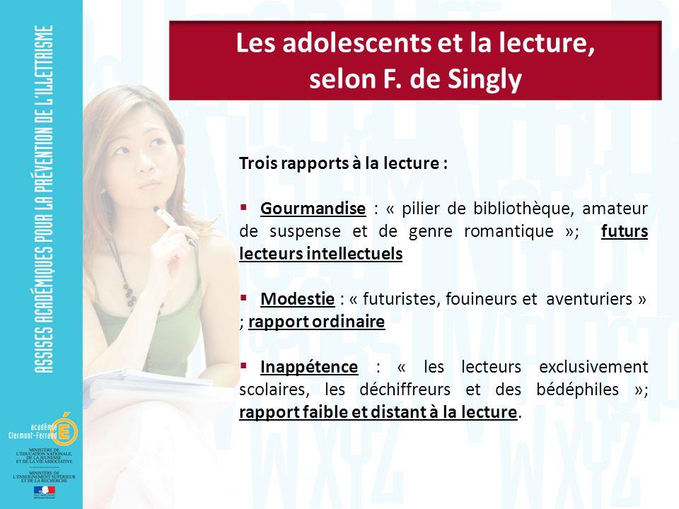 Trois rapports à la lecture : Gourmandise : « pilier de bibliothèque, amateur de suspense et de genre romantique »; futurs lecteurs intellectuels Mode