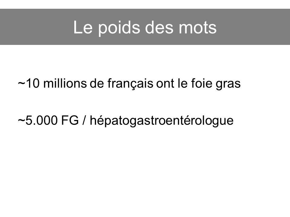 Le poids des mots ~10 millions de français ont le foie gras ~5.000 FG / hépatogastroentérologue