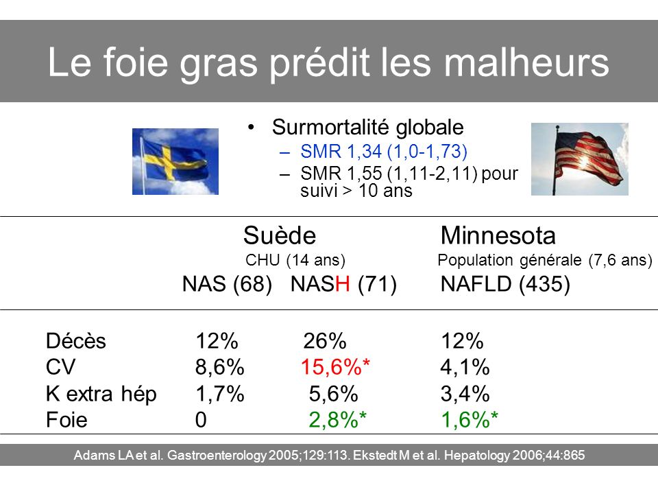 Le foie gras prédit les malheurs Surmortalité globale –SMR 1,34 (1,0-1,73) –SMR 1,55 (1,11-2,11) pour suivi > 10 ans Adams LA et al. Gastroenterology
