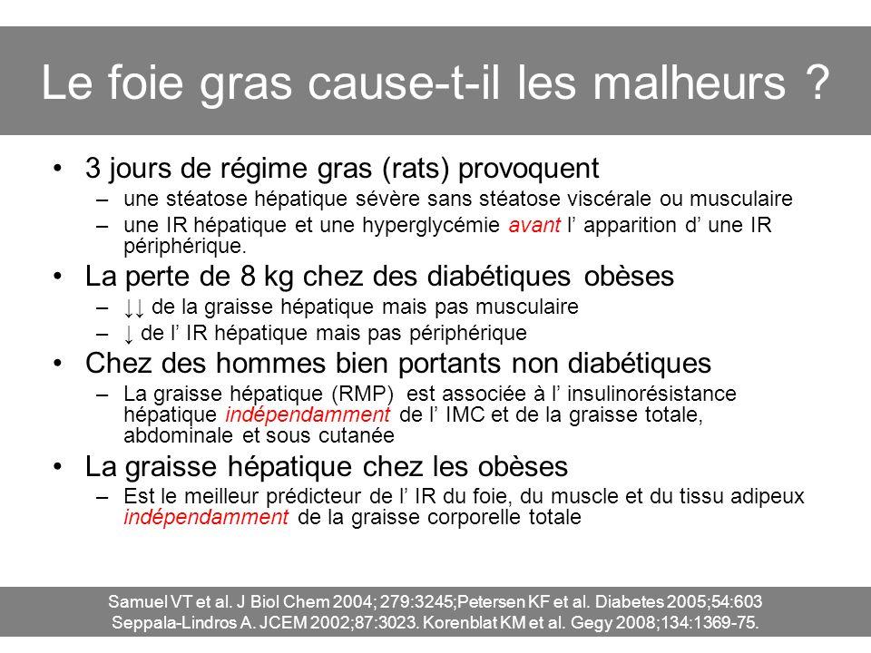 Le foie gras cause-t-il les malheurs ? 3 jours de régime gras (rats) provoquent –une stéatose hépatique sévère sans stéatose viscérale ou musculaire –