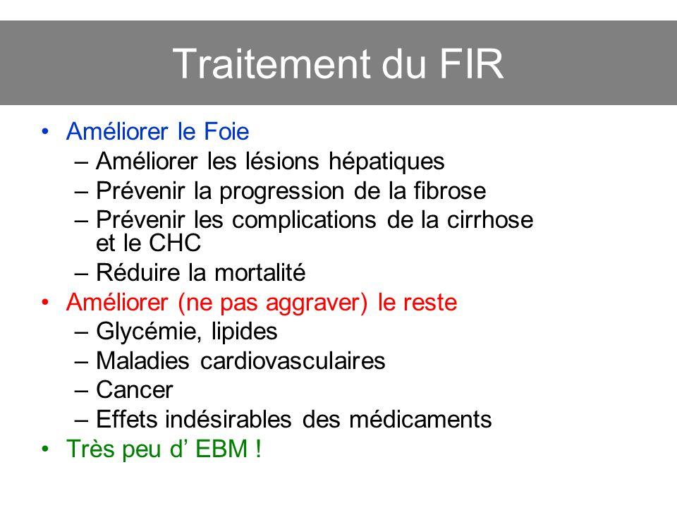 Traitement du FIR Améliorer le Foie –Améliorer les lésions hépatiques –Prévenir la progression de la fibrose –Prévenir les complications de la cirrhos