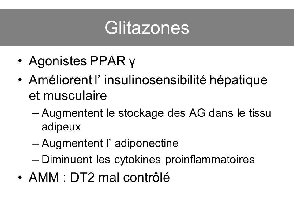 Glitazones Agonistes PPAR γ Améliorent l insulinosensibilité hépatique et musculaire –Augmentent le stockage des AG dans le tissu adipeux –Augmentent