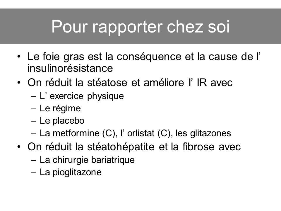 Pour rapporter chez soi Le foie gras est la conséquence et la cause de l insulinorésistance On réduit la stéatose et améliore l IR avec –L exercice ph