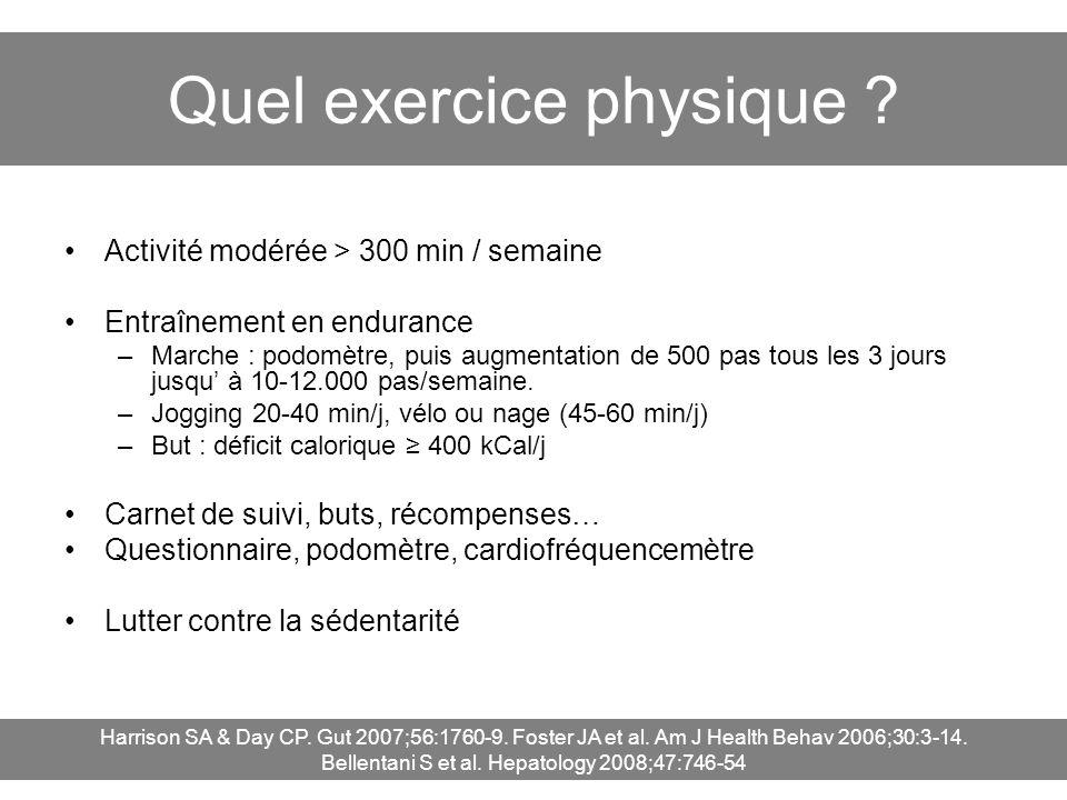 Quel exercice physique ? Activité modérée > 300 min / semaine Entraînement en endurance –Marche : podomètre, puis augmentation de 500 pas tous les 3 j