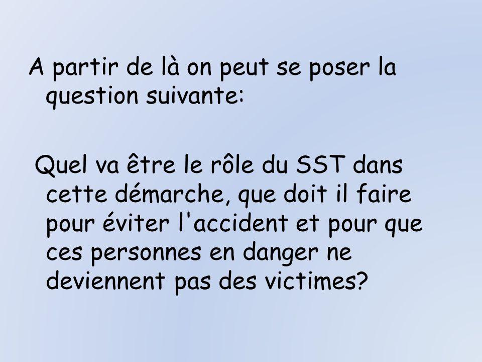 A partir de là on peut se poser la question suivante: Quel va être le rôle du SST dans cette démarche, que doit il faire pour éviter l accident et pour que ces personnes en danger ne deviennent pas des victimes?