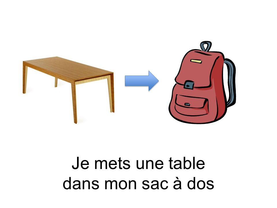 Je mets une table dans mon sac à dos