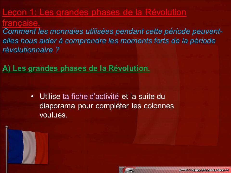 Comment les monnaies utilisées pendant cette période peuvent- elles nous aider à comprendre les moments forts de la période révolutionnaire ? A) Les g