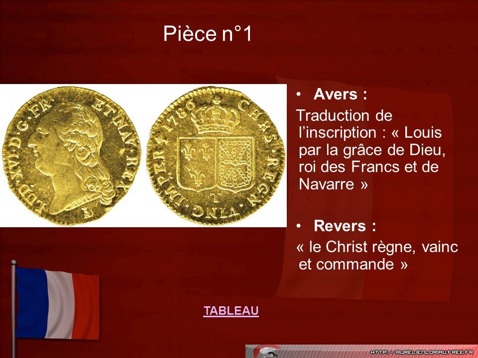 Pièce n°1 Avers : Traduction de linscription : « Louis par la grâce de Dieu, roi des Francs et de Navarre » Revers : « le Christ règne, vainc et comma