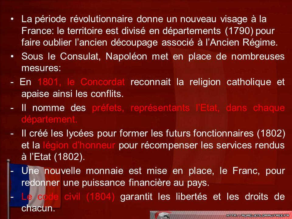 La période révolutionnaire donne un nouveau visage à la France: le territoire est divisé en départements (1790) pour faire oublier lancien découpage a