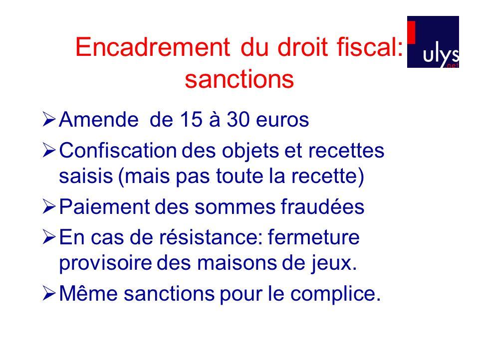Encadrement du droit fiscal: sanctions Amende de 15 à 30 euros Confiscation des objets et recettes saisis (mais pas toute la recette) Paiement des som
