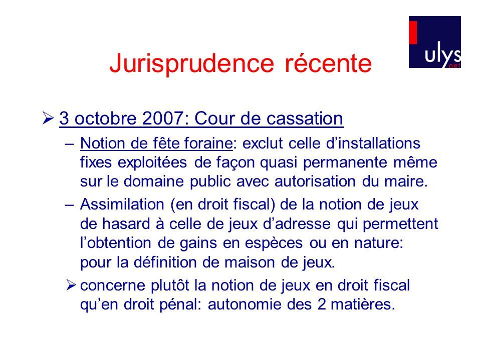 Jurisprudence récente 3 octobre 2007: Cour de cassation –Notion de fête foraine: exclut celle dinstallations fixes exploitées de façon quasi permanent