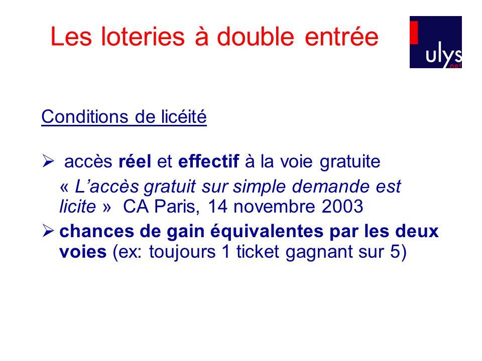 Les loteries à double entrée Conditions de licéité accès réel et effectif à la voie gratuite « Laccès gratuit sur simple demande est licite » CA Paris