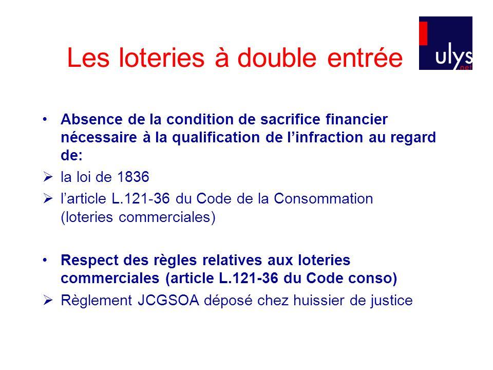 Les loteries à double entrée Absence de la condition de sacrifice financier nécessaire à la qualification de linfraction au regard de: la loi de 1836
