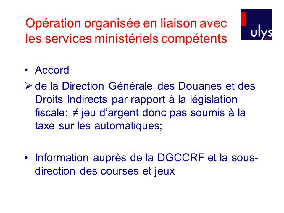 Opération organisée en liaison avec les services ministériels compétents Accord de la Direction Générale des Douanes et des Droits Indirects par rappo
