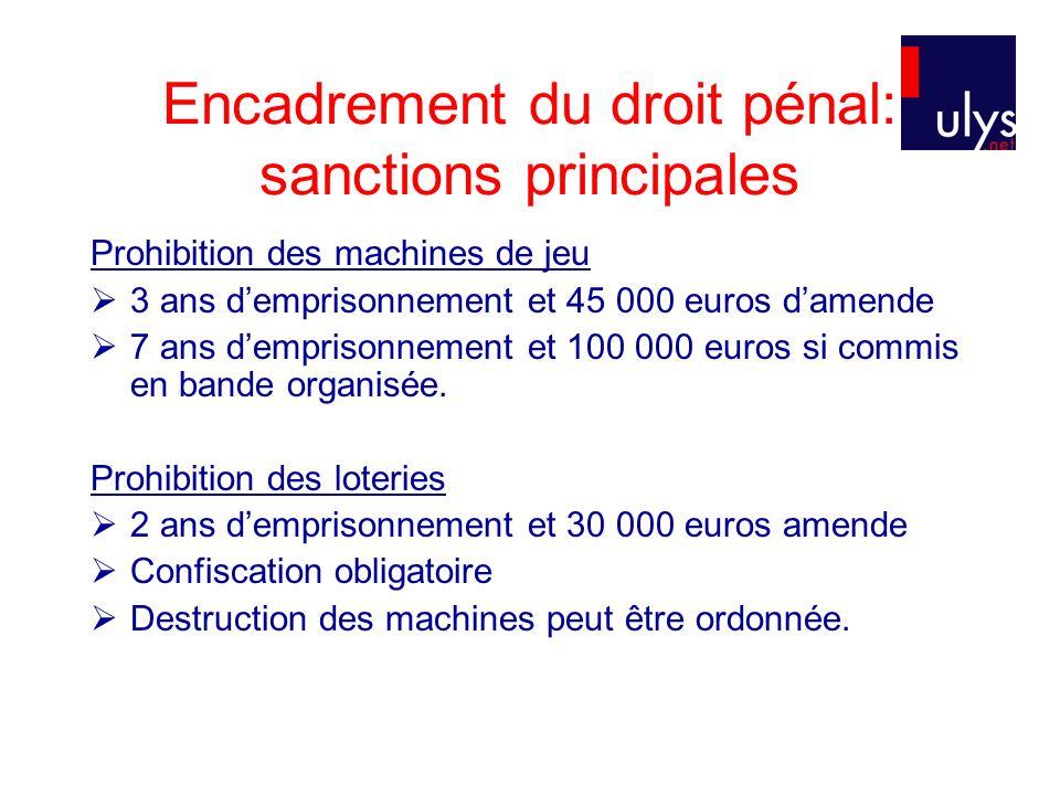 Encadrement du droit pénal: sanctions principales Prohibition des machines de jeu 3 ans demprisonnement et 45 000 euros damende 7 ans demprisonnement