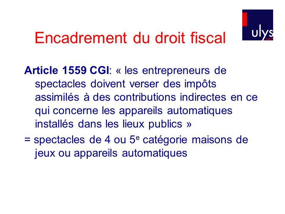 Encadrement du droit fiscal Article 1559 CGI: « les entrepreneurs de spectacles doivent verser des impôts assimilés à des contributions indirectes en