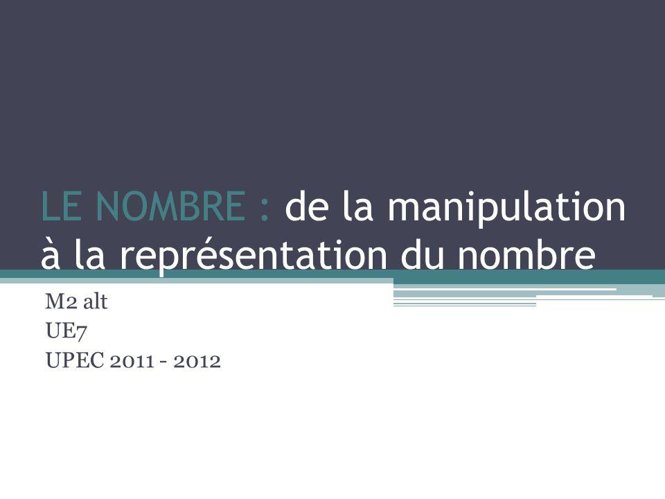 LE NOMBRE : de la manipulation à la représentation du nombre M2 alt UE7 UPEC 2011 - 2012