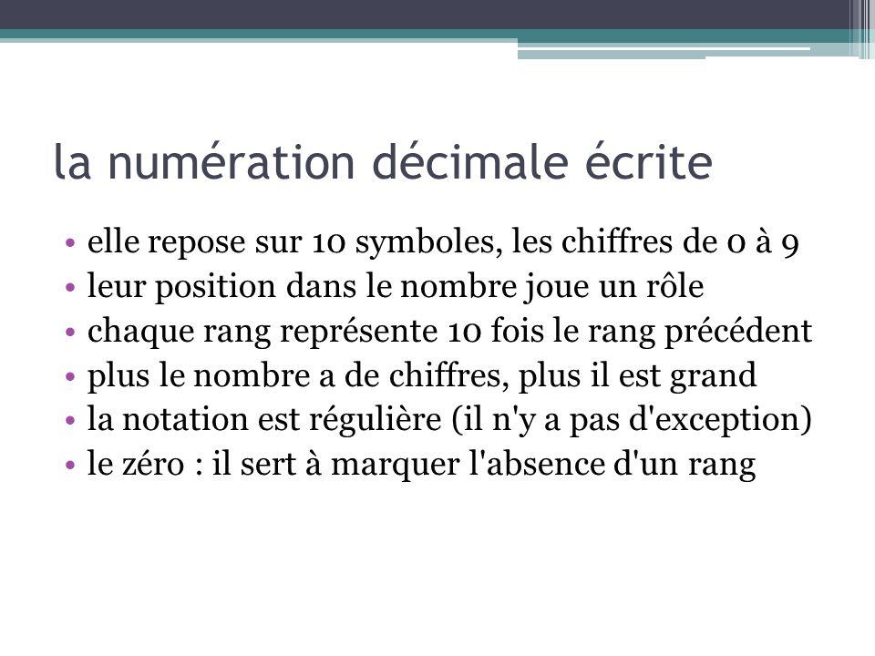 la numération décimale écrite elle repose sur 10 symboles, les chiffres de 0 à 9 leur position dans le nombre joue un rôle chaque rang représente 10 f