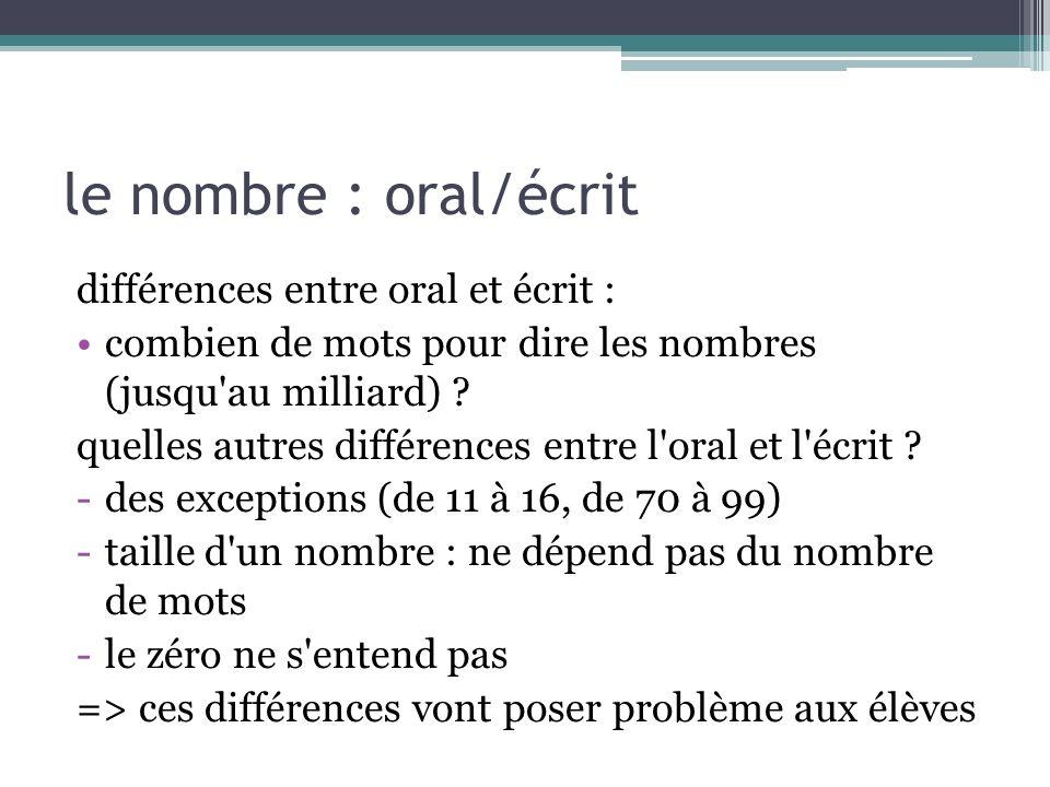 le nombre : oral/écrit différences entre oral et écrit : combien de mots pour dire les nombres (jusqu'au milliard) ? quelles autres différences entre
