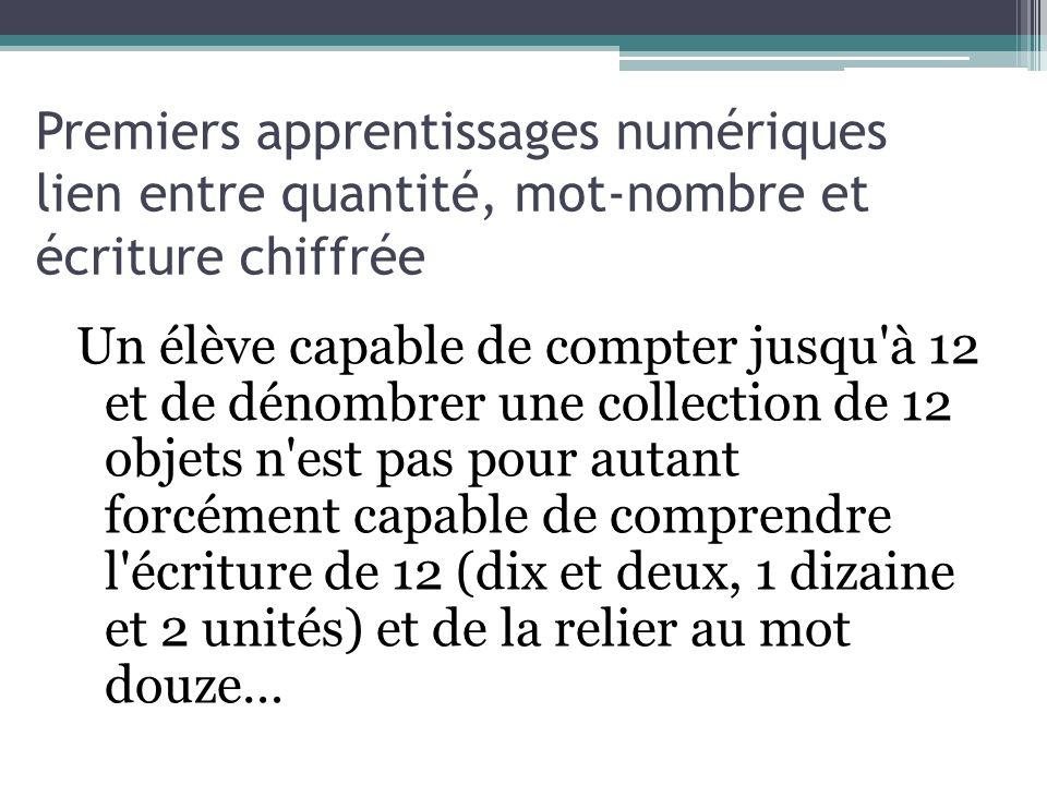 Un élève capable de compter jusqu'à 12 et de dénombrer une collection de 12 objets n'est pas pour autant forcément capable de comprendre l'écriture de
