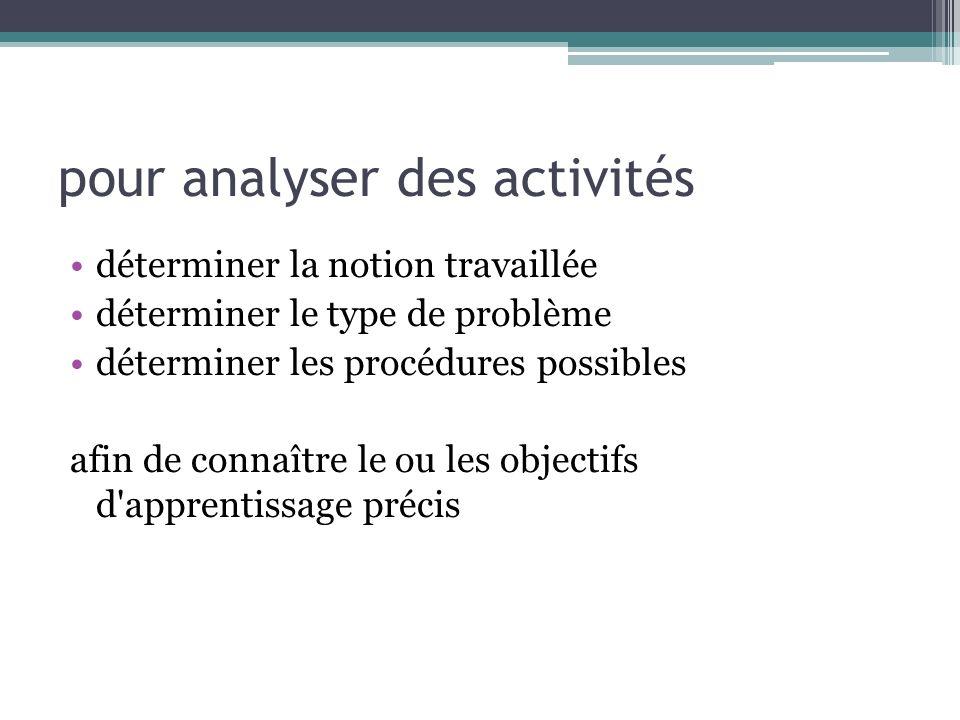 pour analyser des activités déterminer la notion travaillée déterminer le type de problème déterminer les procédures possibles afin de connaître le ou