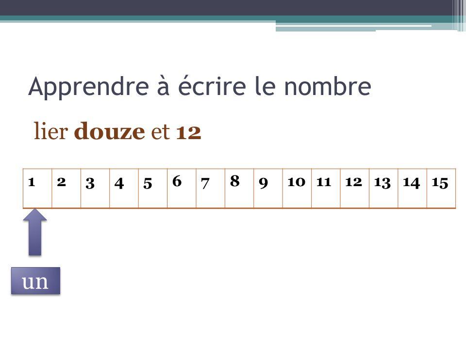 Apprendre à écrire le nombre lier douze et 12 123456789101112131415 un