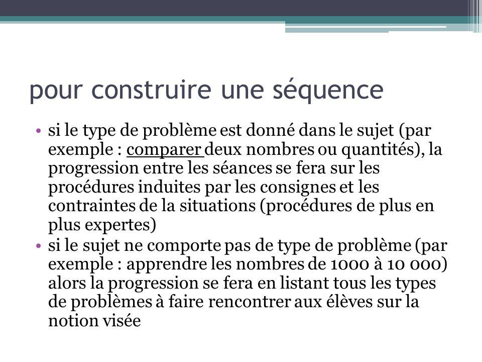 pour construire une séquence si le type de problème est donné dans le sujet (par exemple : comparer deux nombres ou quantités), la progression entre l