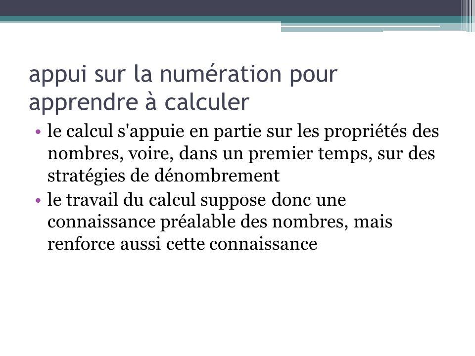 appui sur la numération pour apprendre à calculer le calcul s'appuie en partie sur les propriétés des nombres, voire, dans un premier temps, sur des s