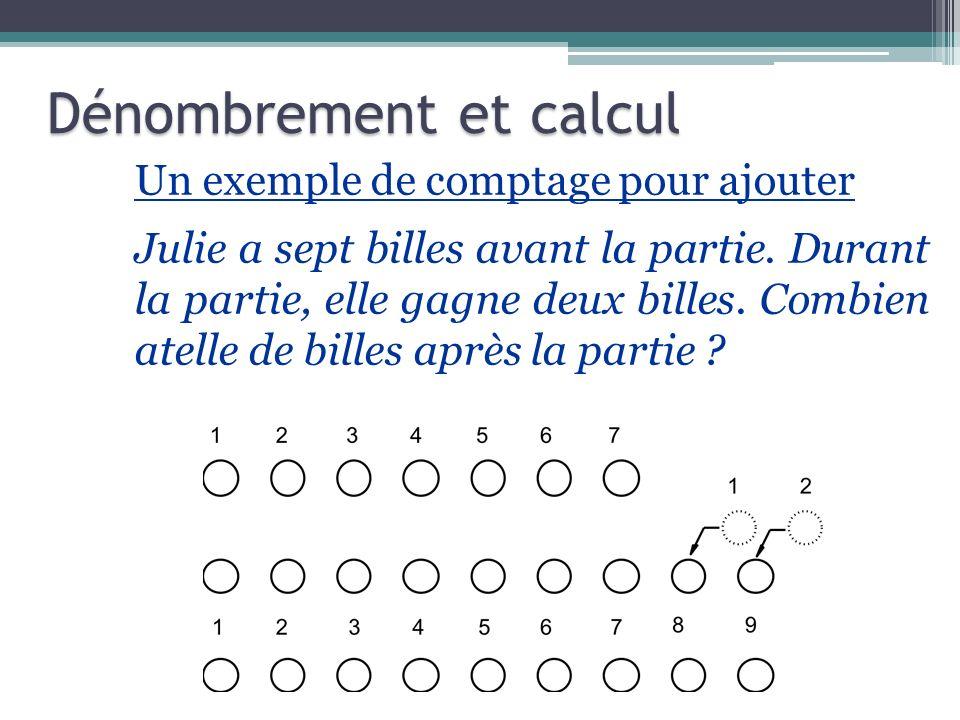 Un exemple de comptage pour ajouter Julie a sept billes avant la partie. Durant la partie, elle gagne deux billes. Combien atelle de billes après la