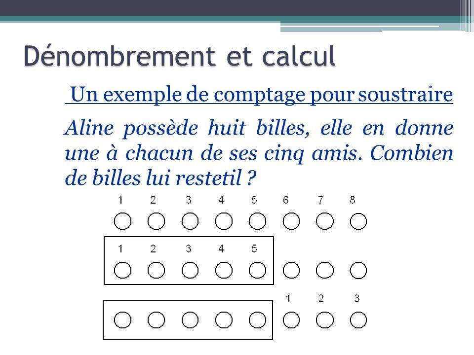 Un exemple de comptage pour soustraire Aline possède huit billes, elle en donne une à chacun de ses cinq amis. Combien de billes lui restetil ? Déno
