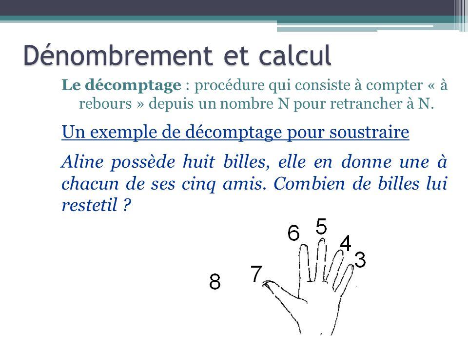 Le décomptage : procédure qui consiste à compter « à rebours » depuis un nombre N pour retrancher à N. Un exemple de décomptage pour soustraire Aline