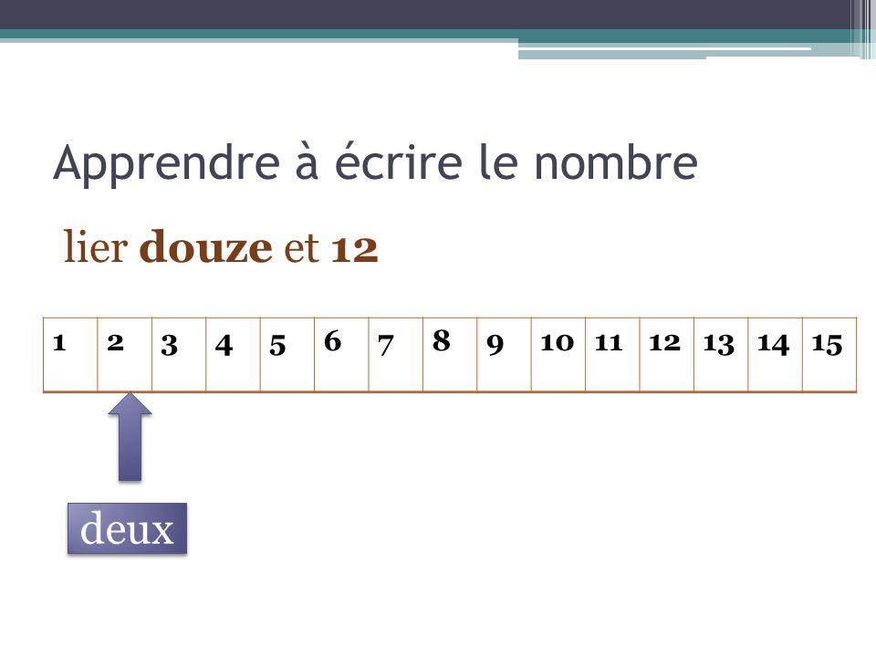 Apprendre à écrire le nombre lier douze et 12 123456789101112131415 deux
