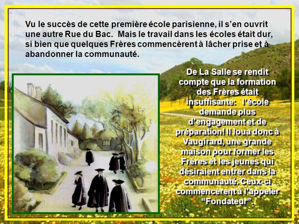 Quand les Frères arrivèrent à Paris, le curé de Saint-Sulpice leur confia une école de charité, car il désirait que les enfants pauvres apprennent à l