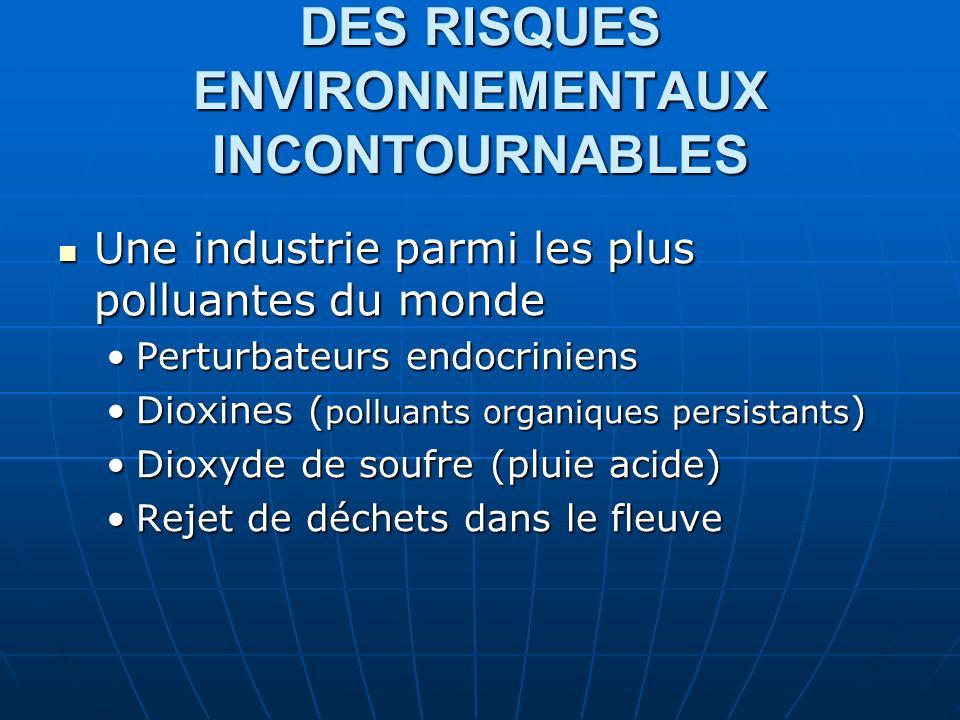 DES RISQUES ENVIRONNEMENTAUX INCONTOURNABLES Une industrie parmi les plus polluantes du monde Une industrie parmi les plus polluantes du monde Perturbateurs endocriniensPerturbateurs endocriniens Dioxines ( polluants organiques persistants )Dioxines ( polluants organiques persistants ) Dioxyde de soufre (pluie acide)Dioxyde de soufre (pluie acide) Rejet de déchets dans le fleuveRejet de déchets dans le fleuve