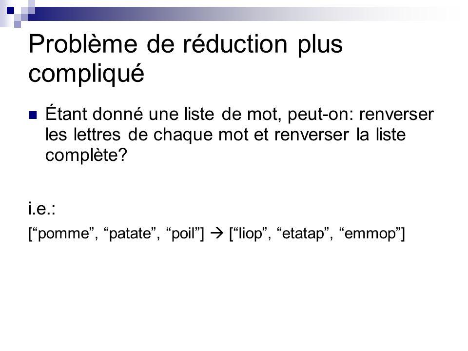 Problème de réduction plus compliqué Étant donné une liste de mot, peut-on: renverser les lettres de chaque mot et renverser la liste complète.