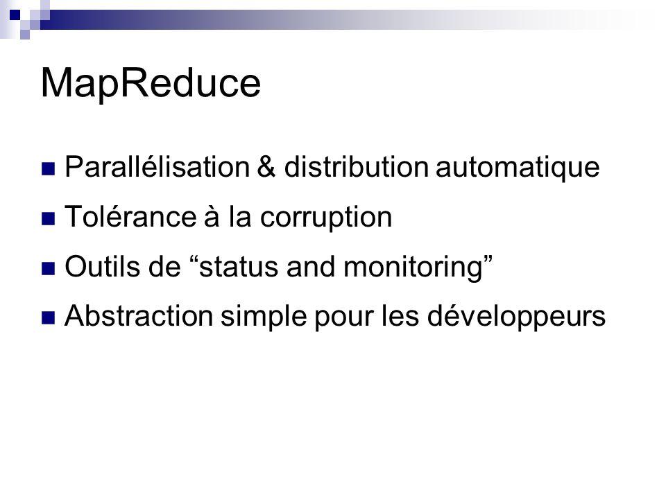 MapReduce Parallélisation & distribution automatique Tolérance à la corruption Outils de status and monitoring Abstraction simple pour les développeurs