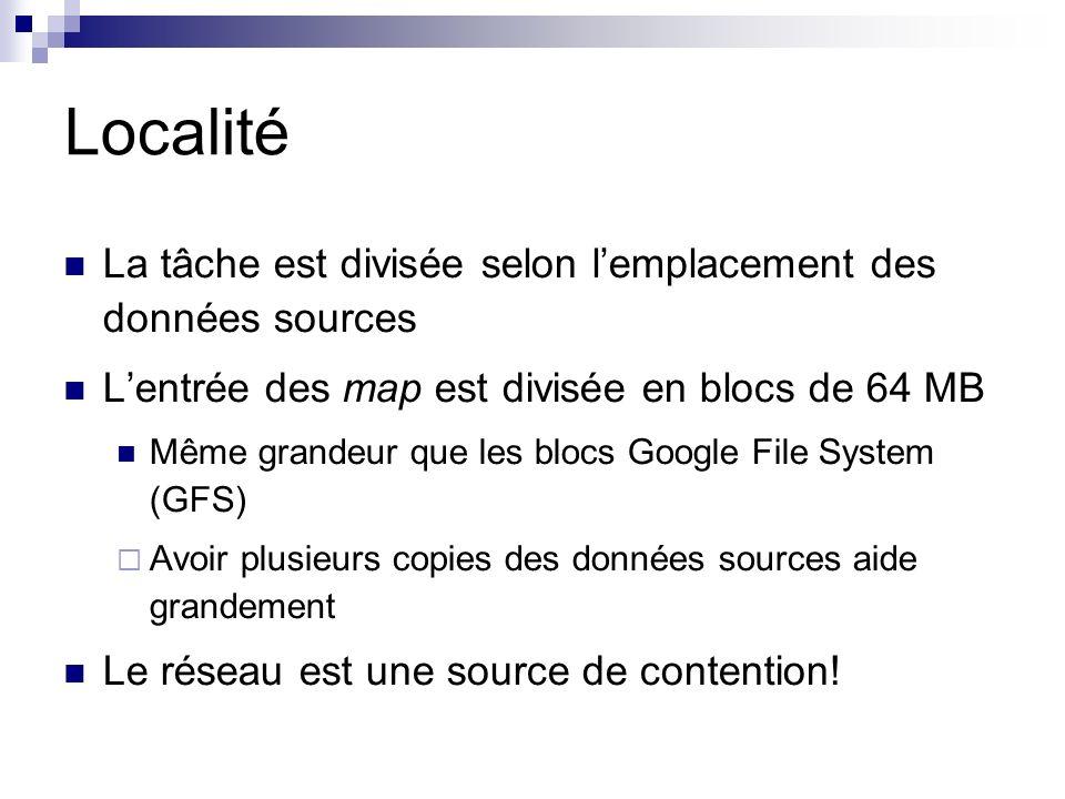Localité La tâche est divisée selon lemplacement des données sources Lentrée des map est divisée en blocs de 64 MB Même grandeur que les blocs Google File System (GFS) Avoir plusieurs copies des données sources aide grandement Le réseau est une source de contention!