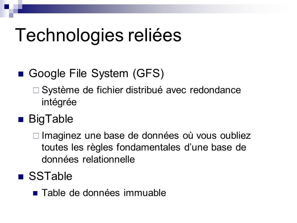 Technologies reliées Google File System (GFS) Système de fichier distribué avec redondance intégrée BigTable Imaginez une base de données où vous oubliez toutes les règles fondamentales dune base de données relationnelle SSTable Table de données immuable