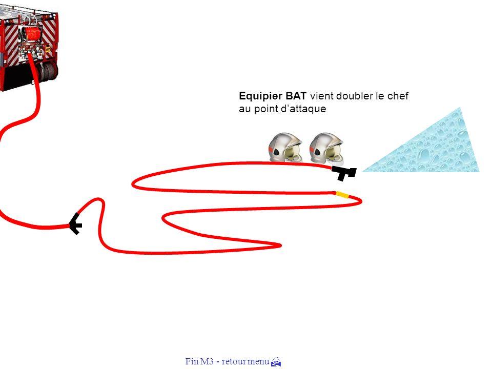 Equipier BAT réalise les branchements, raccorde à la prise deau et ouvre leau Il surveille létablissement en allant doubler le chef au point dattaque.