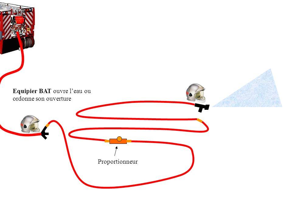 Equipier BAT réalise les branchements et intercale le proportionneur entre le 2ème tuyau et le 3ème tuyau ou entre le 3ème et le 4ème tuyau Proportion