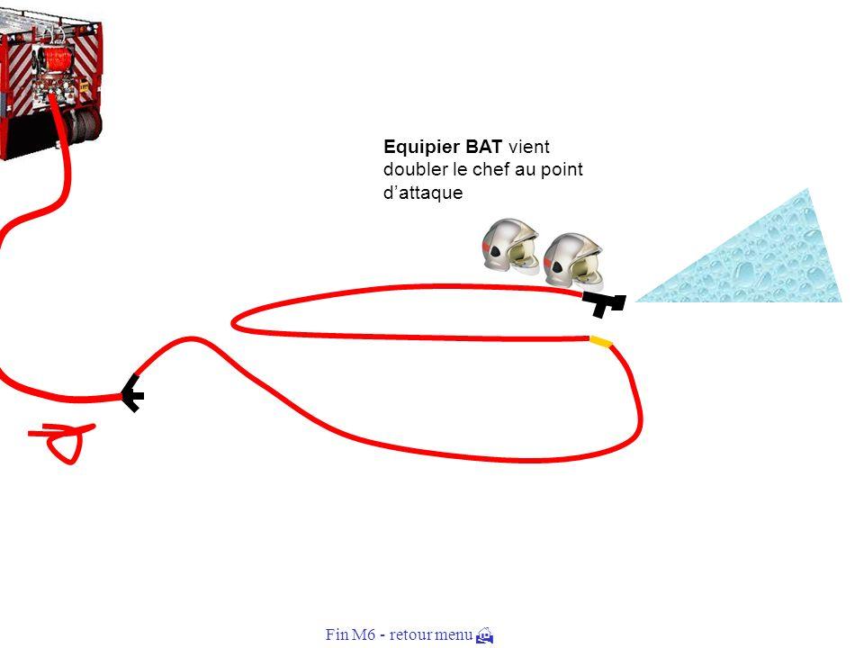 Tuyau percé enroulé avec un noeud Equipier BAT remplace le tuyau endommagé et retourne ouvrir leau