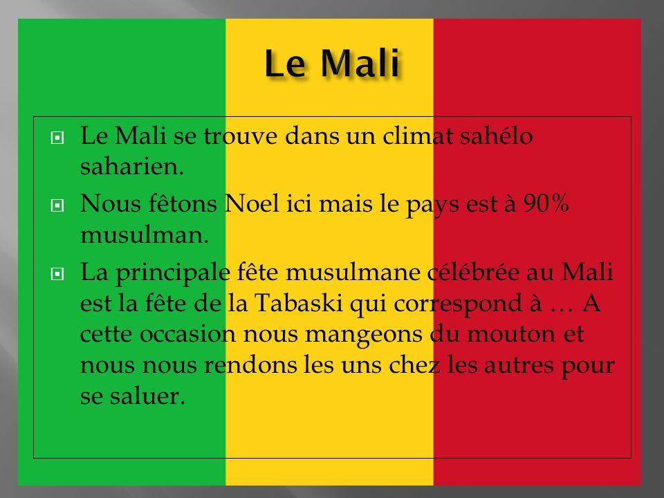 Le Mali se trouve dans un climat sahélo saharien. Nous fêtons Noel ici mais le pays est à 90% musulman. La principale fête musulmane célébrée au Mali