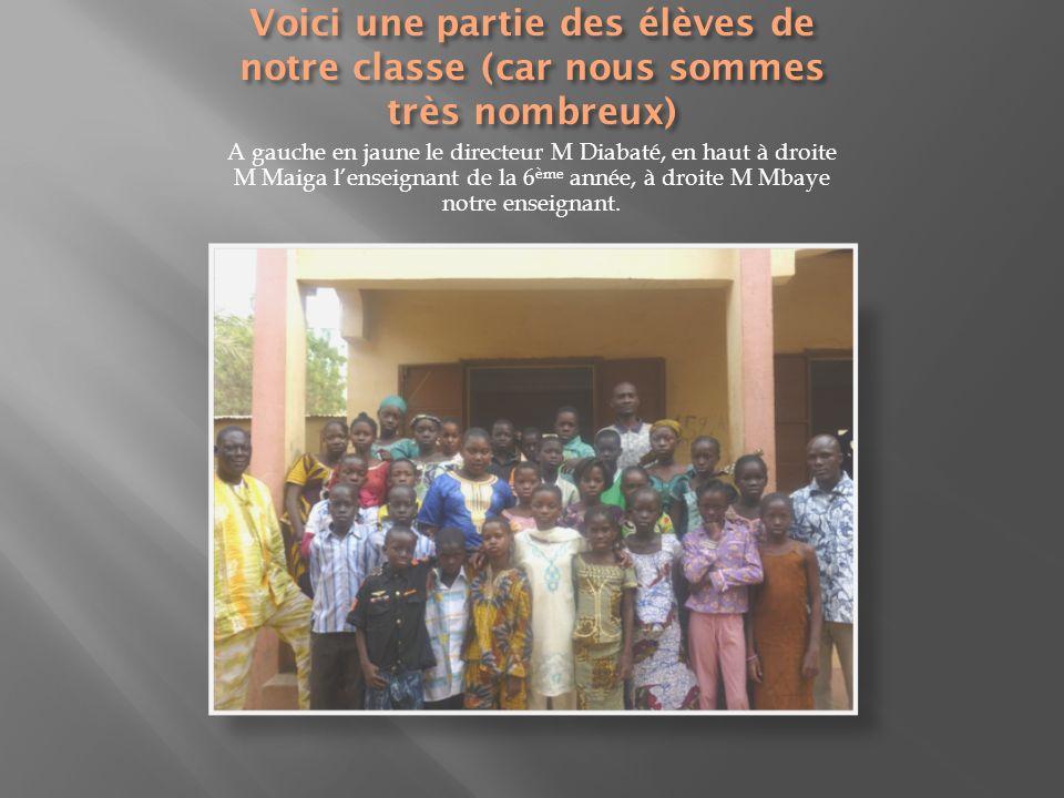 A gauche en jaune le directeur M Diabaté, en haut à droite M Maiga lenseignant de la 6 ème année, à droite M Mbaye notre enseignant.