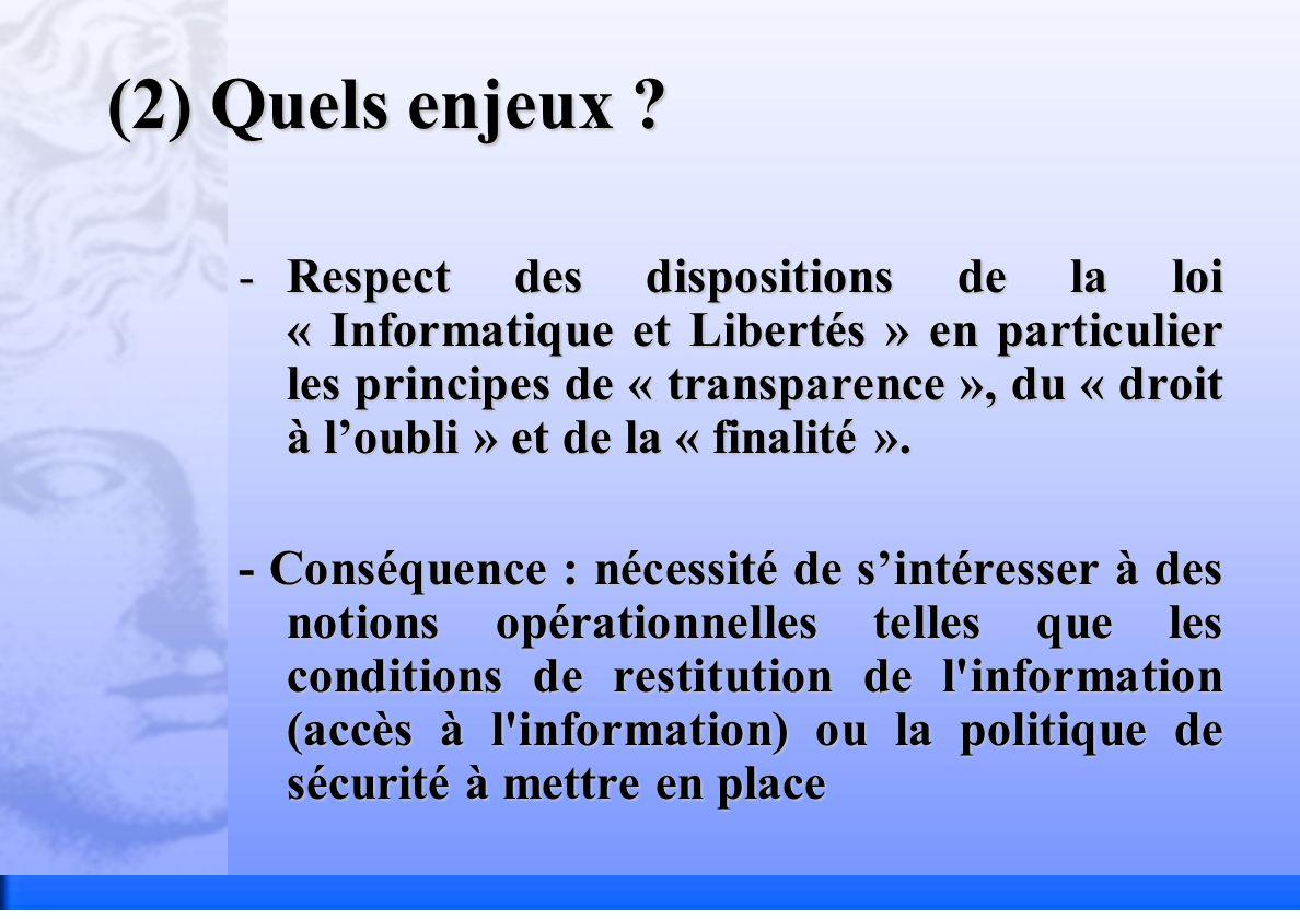 (2) Quels enjeux ? -Respect des dispositions de la loi « Informatique et Libertés » en particulier les principes de « transparence », du « droit à lou