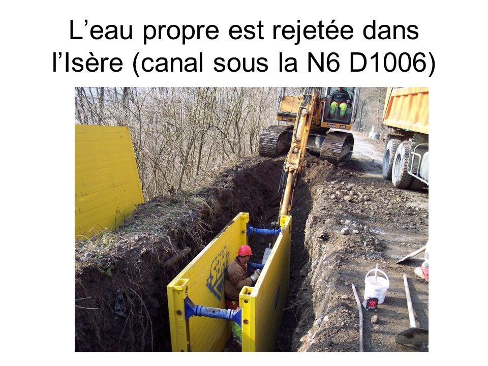 Leau propre est rejetée dans lIsère (canal sous la N6 D1006)
