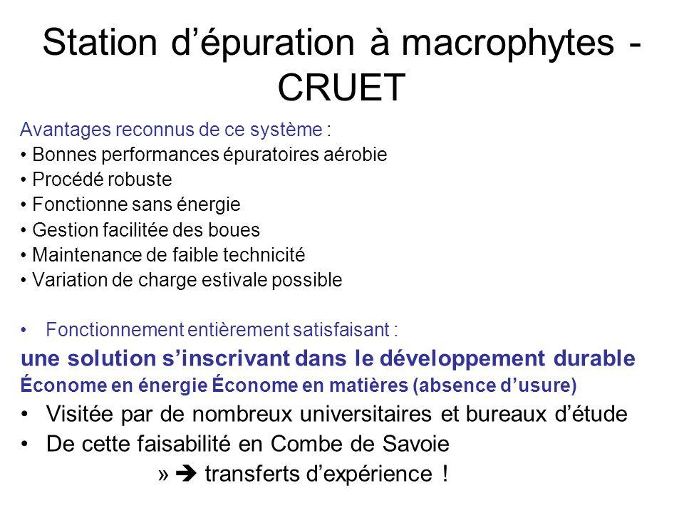 Station dépuration à macrophytes - CRUET Avantages reconnus de ce système : Bonnes performances épuratoires aérobie Procédé robuste Fonctionne sans én